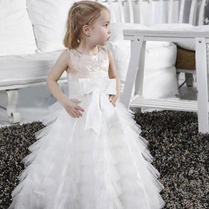 Elegant Champagne and White Floor Length Applique Bow Sash Layered Tulle Girls Formal Gown