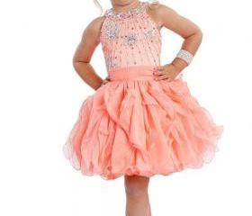 New Style Lace Up Cupcake Baby Little Girls Party Tutu Beads Crew Pageant Dresses