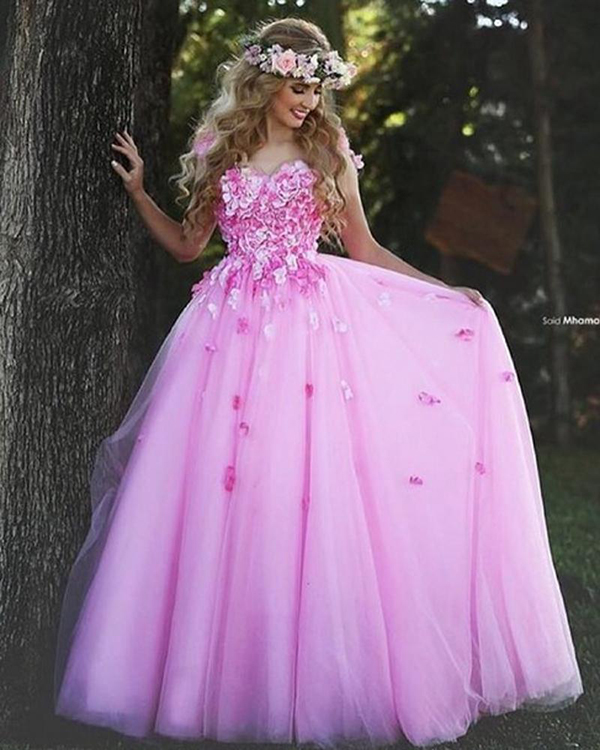 Pink Christmas Prom Dresses Ball Gown Flower Beautiful Tumblr ...