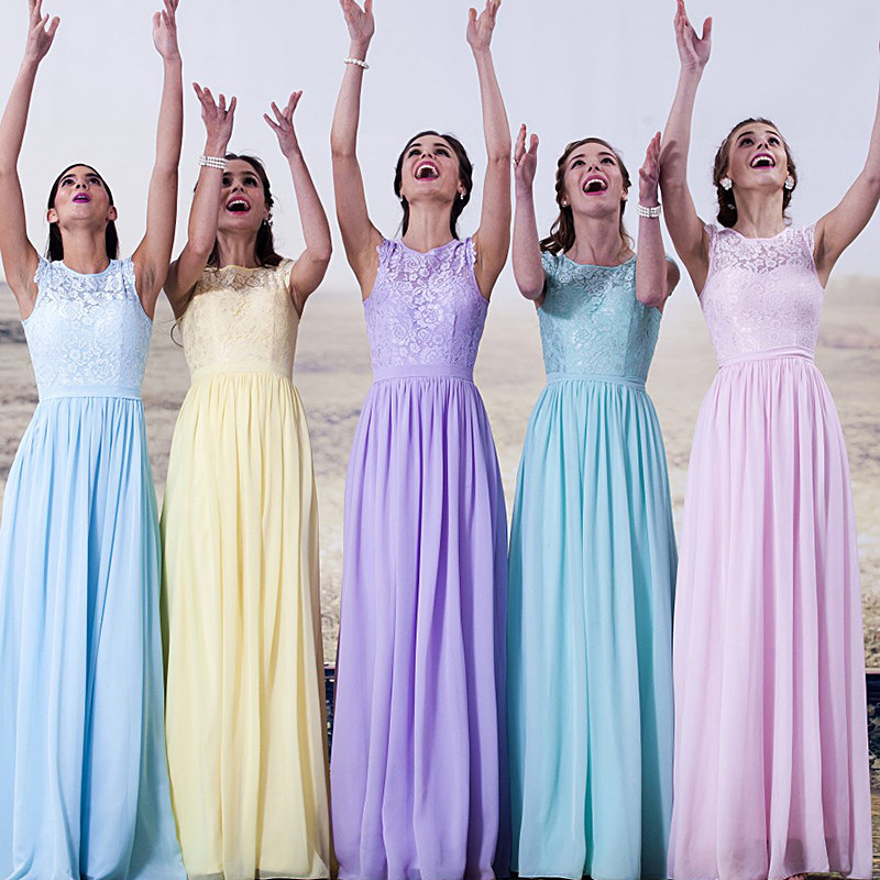 yellow light blue purple sky blue bridesmaid dresses