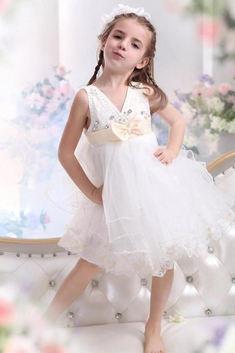 Lovely Short Dresses for Little Girl Flower Toddler Wedding Party Evening Gowns