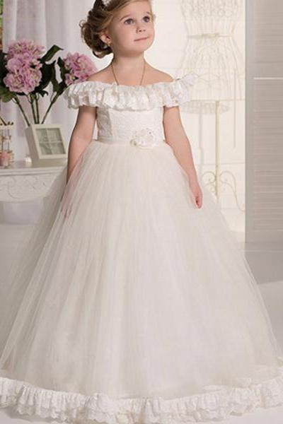 White/Ivory Vintage Flower Girl Dresses A-Line Pageant Gowns for Wedding