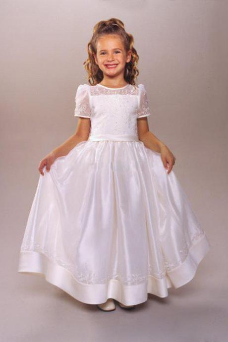 Short Sleeves A-Line Long Flower Girl Dresses Kids Vintage