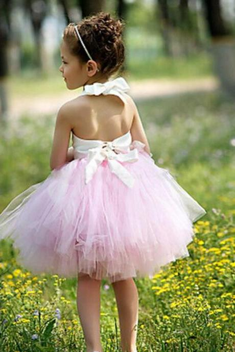 Short Halter Kids Evening Gowns Cute Flower Girl Dresses