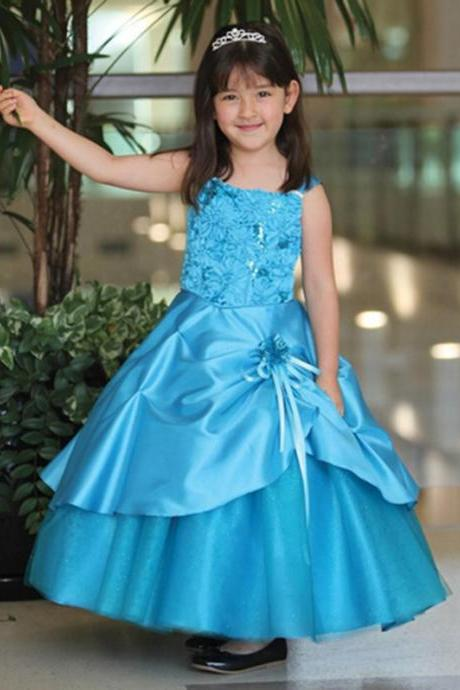 Floor-Length Blue Dresses for Girls Wedding Gown Flower Girl Dresses