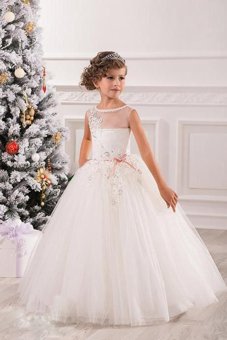 Elegant Toddler Ball Gown Sparkle Sequin Girl Pageant Dresses