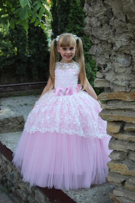 Colorful Toddler Ball Gown Elegant Flower Girl Dress for Wedding Party Dresses