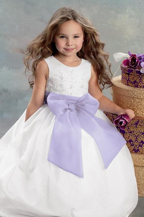 White/Ivory Formal Girl Clothing Big Bow Toddler Ball Gown Flower Girl Dresses