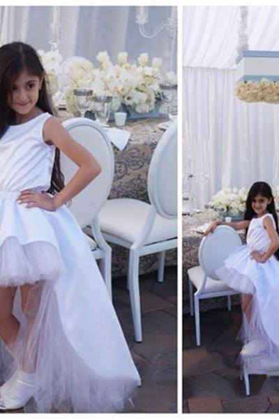 Custom White Ivory Flower Girl Dress Tutu Birthday Birthday Party Gowns For Wedding Pageant