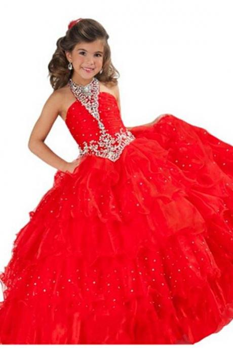 Sparkle Beaded Hater Long Girl's Pageant Dress Red Party Gowns