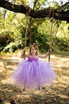 Long Lavender Flower Girl Dress for Wedding Party Gown