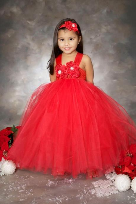Red Flower Girl Dress Christmas Tutu Dress Wedding Party Gown