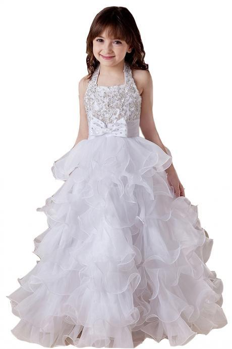 Lovely Girl Beauty Beading Ruffles Long Flower Girl Dresses for Wedding