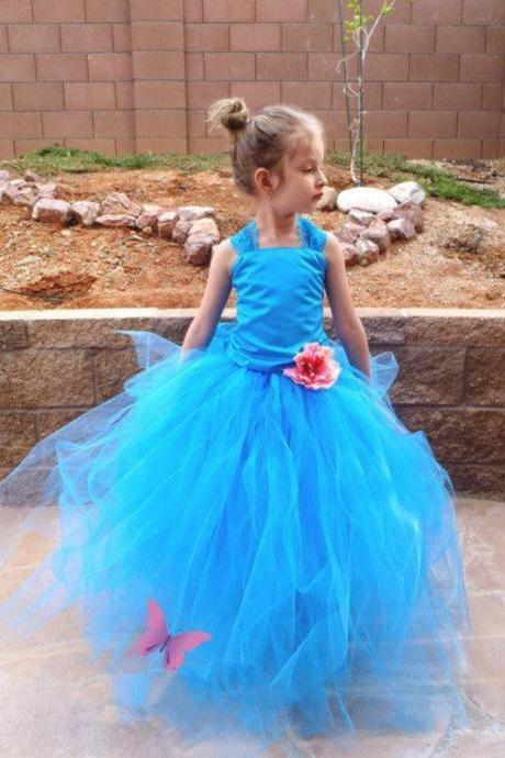 Dreaming Flower Girl Dresses with Hand Made Flower Wedding Party Dress