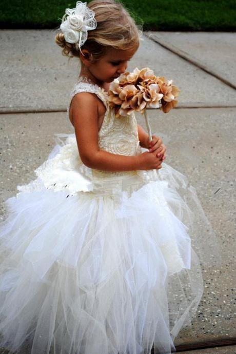 Wedding Girls Princess Dress for Flower Girls Toddler Ball Gowns