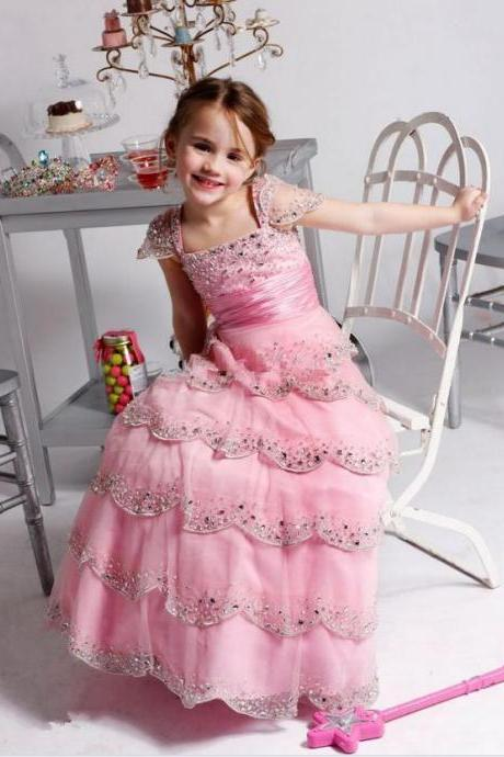 Short Sleeve Diamond Layer Ruffles Floor Length Formal Girl Dresses