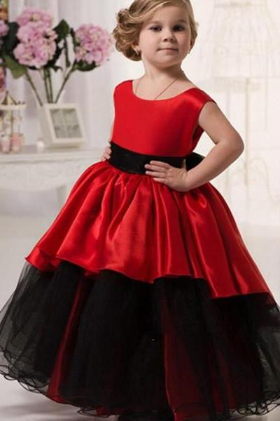Custom Made Red Black Tulle Long Girl Pageant Dresses Wedding Party