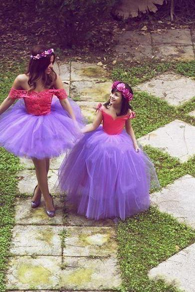 Red and Lavender Mother and Daughter Dresses Flower Girl Dresses