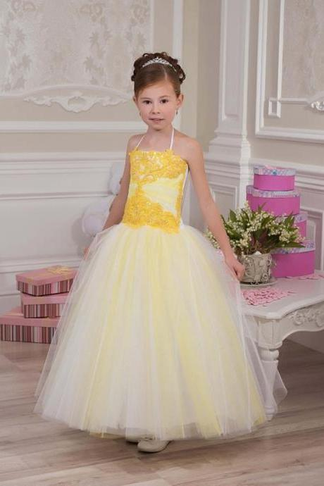 Halter Toddler Ball Gown Baby Girl Birthday Wedding Party Flower Girl Dresses