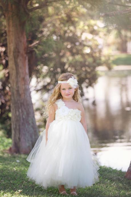 White/Ivory Tulle Handmade FlowerTutu Dress Mini Bridesmaid