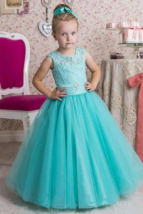 Little Girl Ball Gown Scoop Appliqued Glitz Pageant Floor Length Flower Girls Dresses Lace Dresses Ball Gown