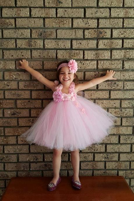 Pink and White Gorgeous Knee length Tutu Dress Wedding Gowns