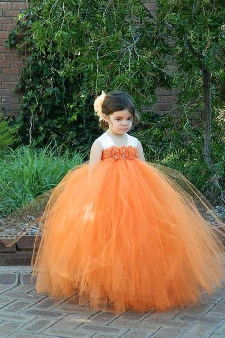 Puffy Long Pageant Dresses for Kids Formal Orange Flower Girl Dresses