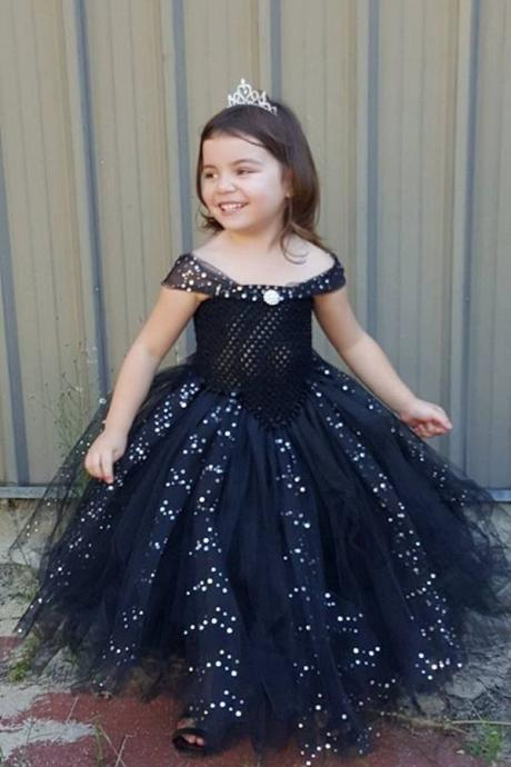 Black Flower Girl Tutu Dress Ball Gown Bridesmaid Birthday Long Pageant Dresses