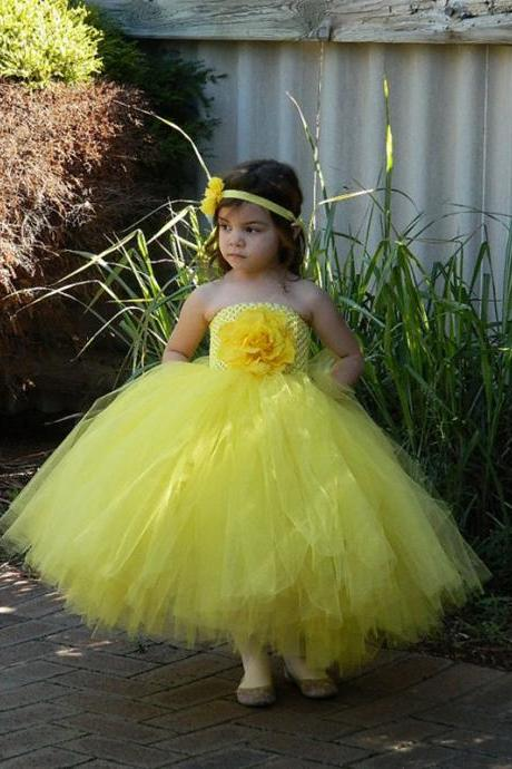 Gorgeous Yellow Flower girl Toddler Wedding Party Gowns