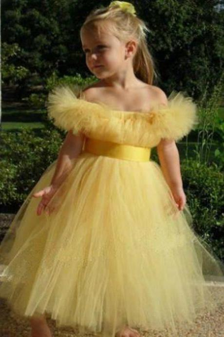 Cute Princess First Communion Girl Clothing Yellow Flower Girl Dresses