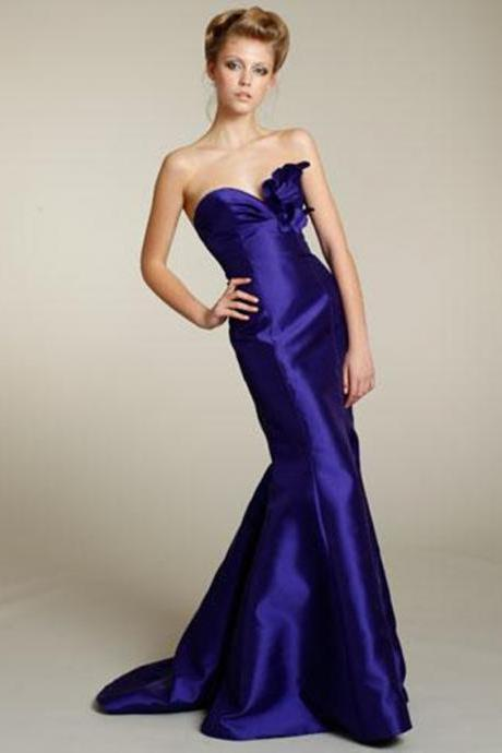 Mermaid Dresses Sweetheart Taffeta Backless Evening Gowns With Hand Made Flowers
