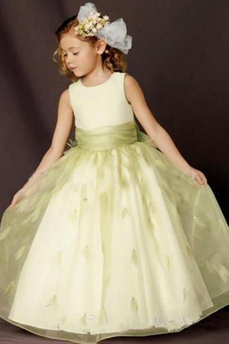 Floor Length Green Organza Beautiful Flower Girl Dresses for Wedding Party