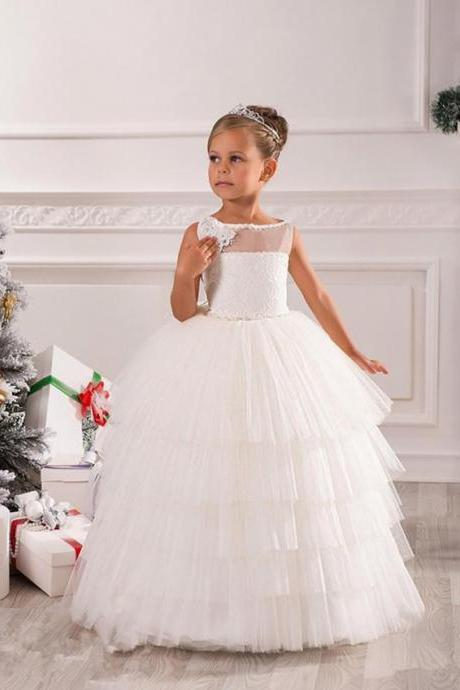 Simple Lace Beaded Sash Net Baby Girl Birthday Party Christmas Princess Dresses