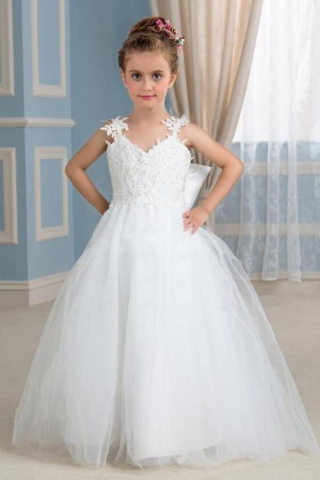 Lovely Flower Girls Dresses With Sweetheart Straps Appliques Tulle Floor Length