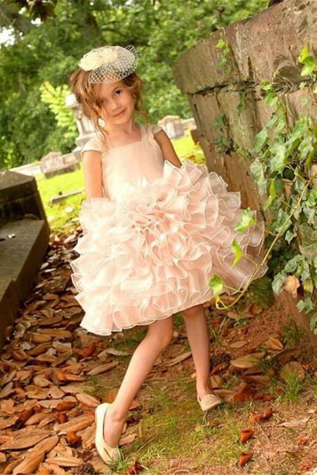 Cute Organza Tiered Little Flower Girl Dresses First Communion Dress