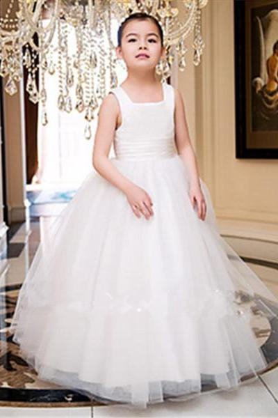 White Ivory Satin Flower Girl Dresses for Weddings First Communion Dresses