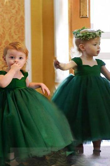 Puffy Green Pageant Dresses for Little Girls Flower Dresses