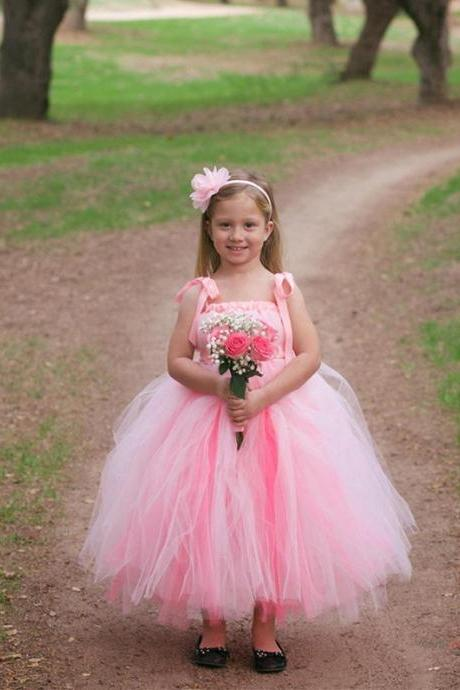 Lovely Girls Pink Pageant Dress Tulle Kids Bridesmaid Dresses