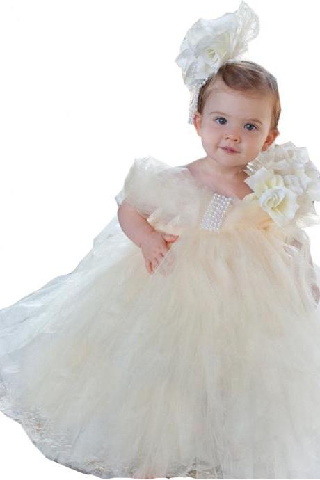 White/Ivory Puffy Communion Dresses for Little Dresses Handmade Flowers