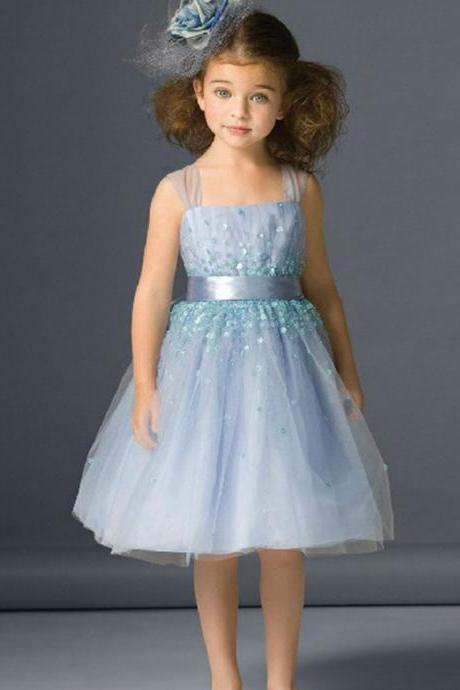 Cute Knee-Length Girl Pageant Dress for Wedding Party Short Flower Girl Dresses