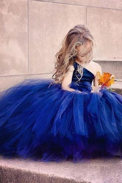 One Shoulder Blue Flower Girls Ball Gowns Dress For Wedding Party Pageant Dresses