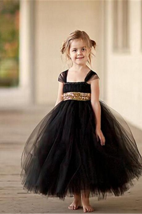 Fashion Gold Sequin Black Flower Girl Dresses Baby Girl Tutu Dress Bow Ball Gown
