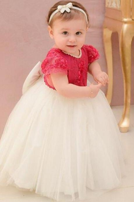 Applique Pearls Tulle Ball Gown Baby Girl Birthday Party Christmas Children Girl Party Dresses Flower Girl Dresses
