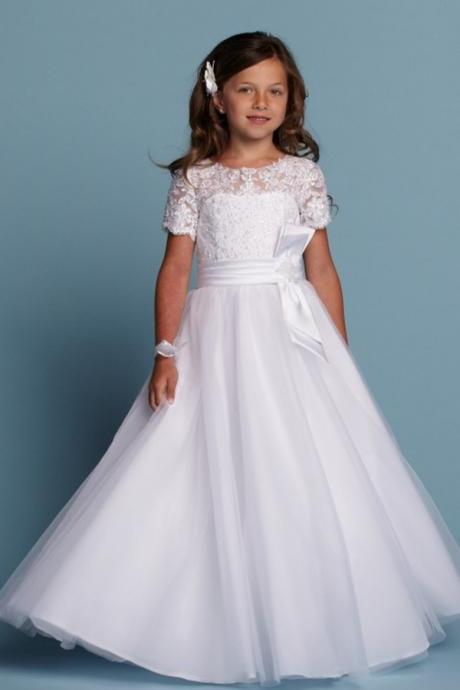 2018 New Cute Girls Pageant Dress Flower Girl Dress Lace Appliques Wedding Prom Ball Gowns Birthday Kids First Communion Dress with Short Sleeves
