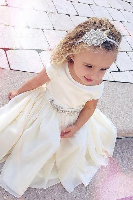 First Communion Dresses for Girl Bridesmaid,White Ivory Flower Girl Dresses,Crystal Little Girl Bridesmaid Dress for Wedding Party,Kids Evening Gowns