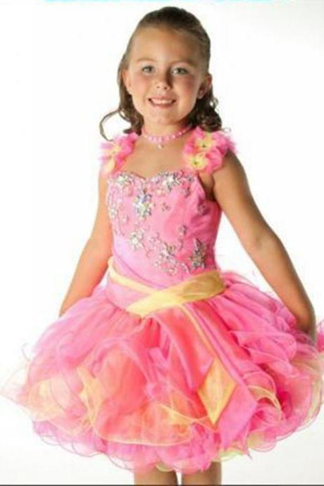 Charming Kids Pageant Dresses Multi Color Ball Gown Ruffles Organza Cupcake Toddler Flower Girls Dress Beaded Straps Frocks Mini Cute Baby Toddler Gown for Evening Prom Dresses