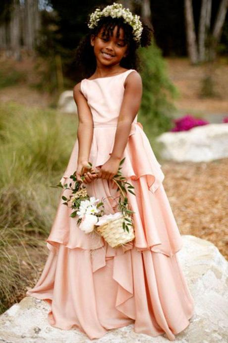 Girls blush pink chiffon cascading beach party gowns 2016 scoop flower girl dresses for wedding vestido communion dresses for toddler bridesmaid gown birthday dance dress