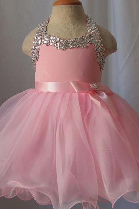 Pageant Dress Little Girls Party Dresses Halter Neckline Crystal Beading Bow Rhinestone Organza Ankle Length Flower Girls Dress First Communion Dresses for Girl Bridesmaid Gown
