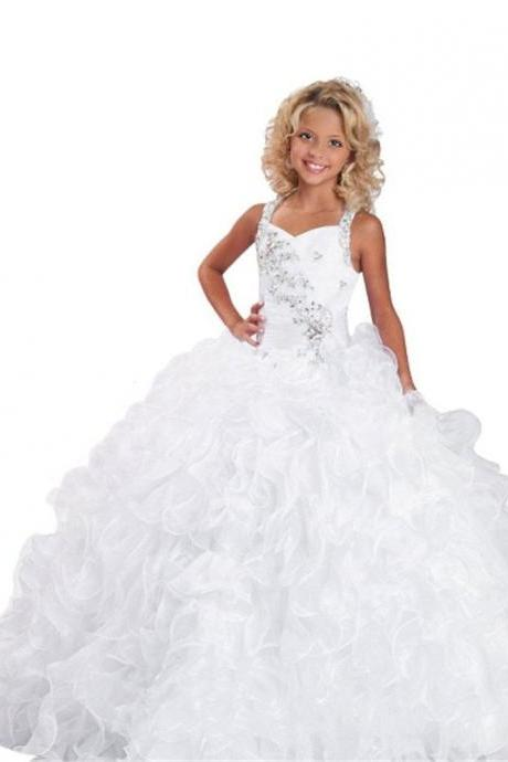 Puffy Little Girls' First Communion Crystal Flower Girl Kids Pageant Dresses Ruffles Kids Prom Gown Sparkle Beading Flower Girl Toddler Gown