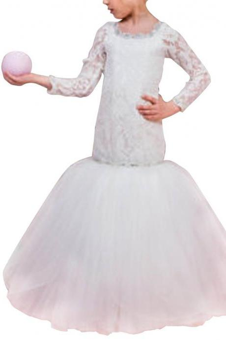 Princess Lace Pageant Gown Long Sleeve Flower Girl Dresses Mermaid First Communion Dresses for Little Girl Dresses for Party Prom